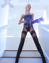 Francesca,Dangerous,Beautiful blonde domme Francesca has a leather whip in her hand and she's not afraid to use it!