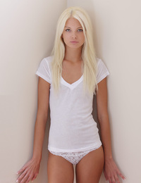 Francesca,Morning Light FHG,Francesca slips out of her white cotton t-shirt and panties in the soft morning light.
